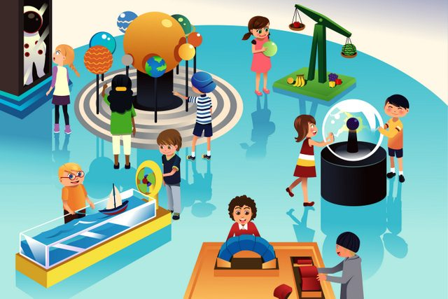 A vector illustration of kids on a trip to a science center