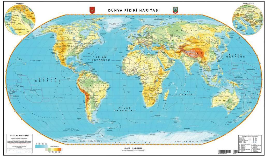 Fiziki Haritalarda Renkler Ve Yüzey şekilleri Cicicee