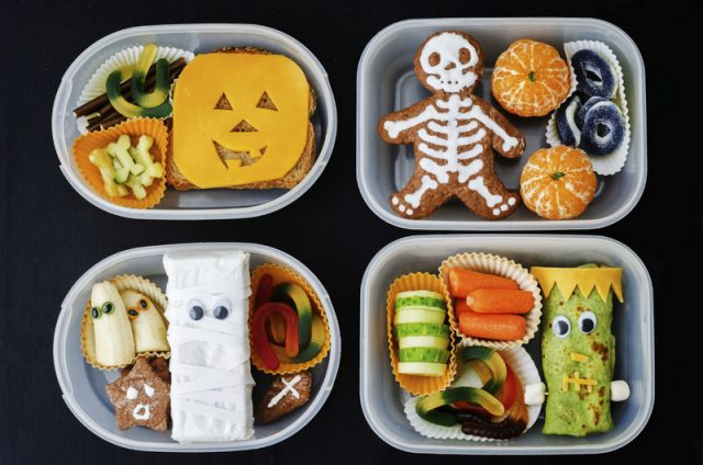 lunch boxes for children in the form of monsters for Halloween. the toning. selective focus